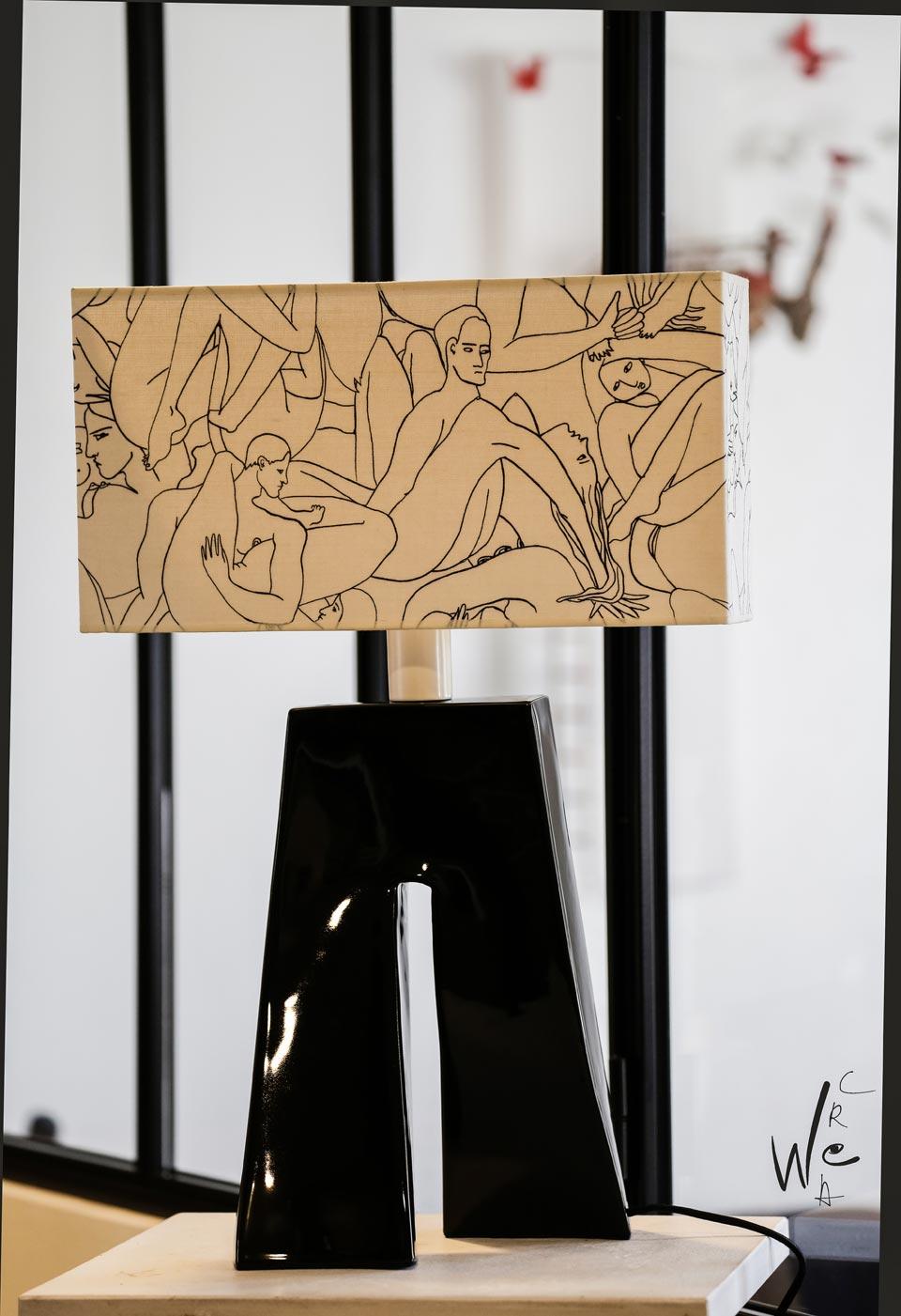 Lampe Ballade Le couple de Pierre Frey noire. Les artisans d