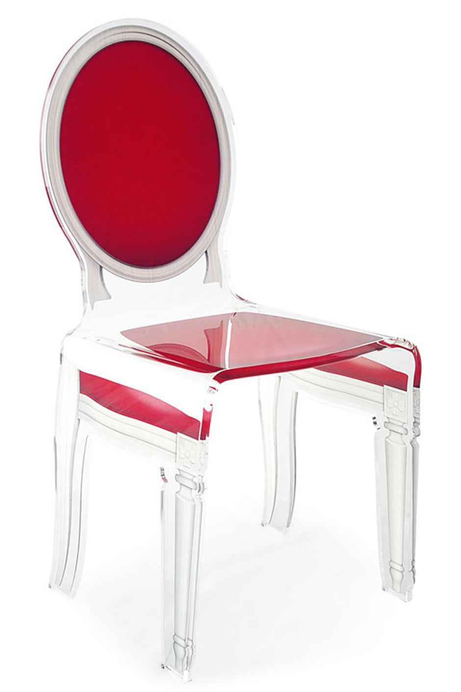 chaise baroque altuglas transparent sixteen motif rouge acrila sp cialiste du plexiglas r f. Black Bedroom Furniture Sets. Home Design Ideas