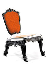 Chaise Baroque design plexiglas forme relax motif orange. Acrila.