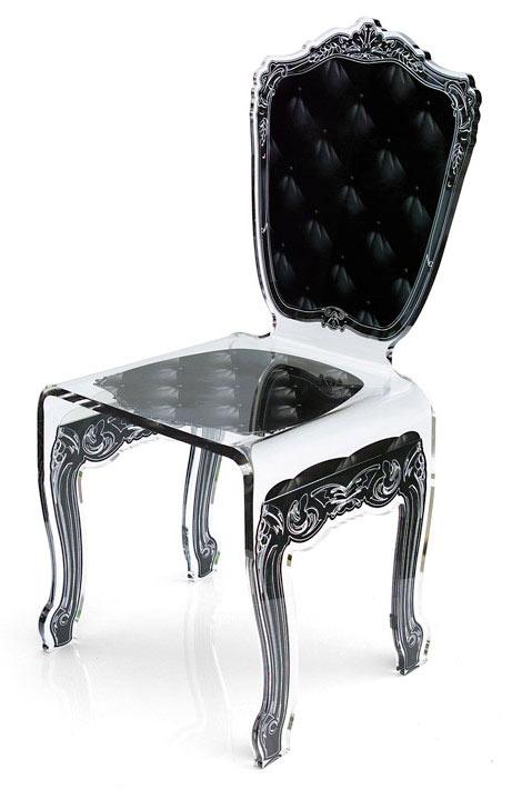 chaise baroque en altuglas capiton motif noir acrila - Chaise Baroque