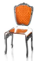 Chaise baroque en plexiglas motif orange. Acrila.