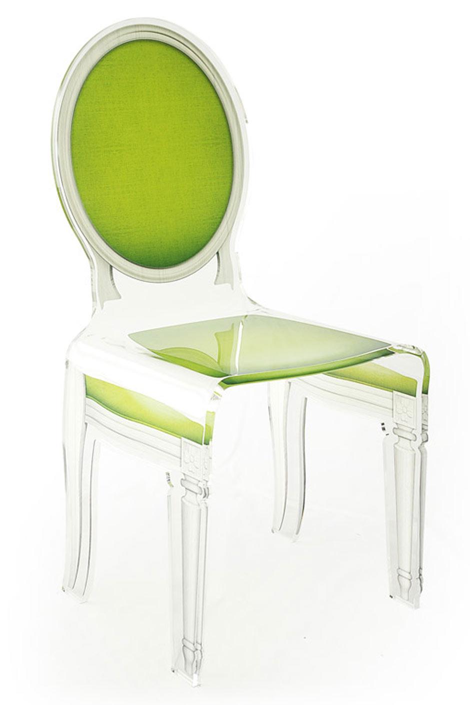 chaise baroque plexiglas sixteen motif vert anis acrila sp cialiste du plexiglas r f 11030391. Black Bedroom Furniture Sets. Home Design Ideas