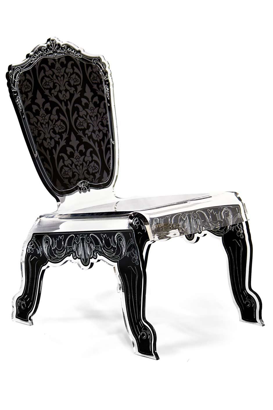 Chaise design Baroque en plexiglas forme relax motif noir. Acrila.