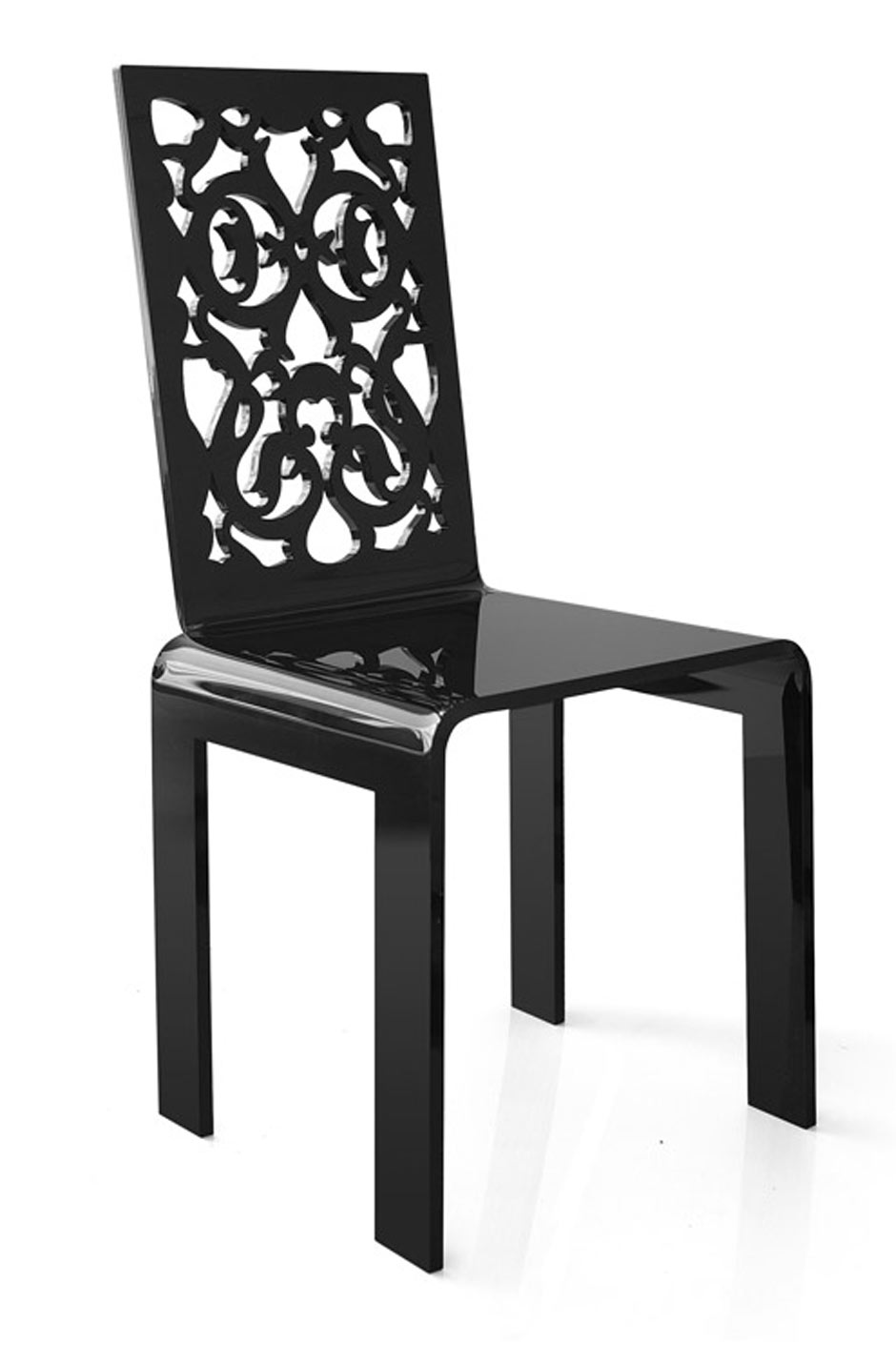 chaise grand soir dentelle noire acrila sp cialiste du plexiglas r f 11030402. Black Bedroom Furniture Sets. Home Design Ideas