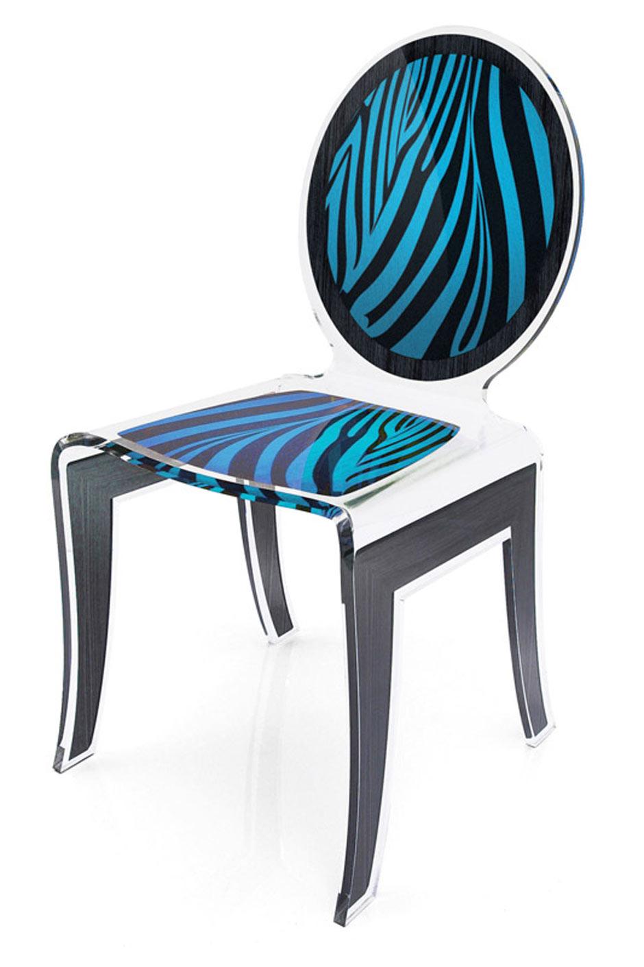 Chaise Médaillon Wild Zèbre Bleu En Plexiglass Transparent Acrila