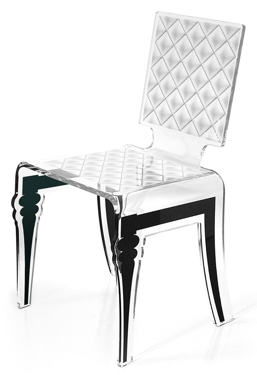 chaise plexiglass design baroque diam motif blanc acrila sp cialiste du plexiglas r f 11030387. Black Bedroom Furniture Sets. Home Design Ideas
