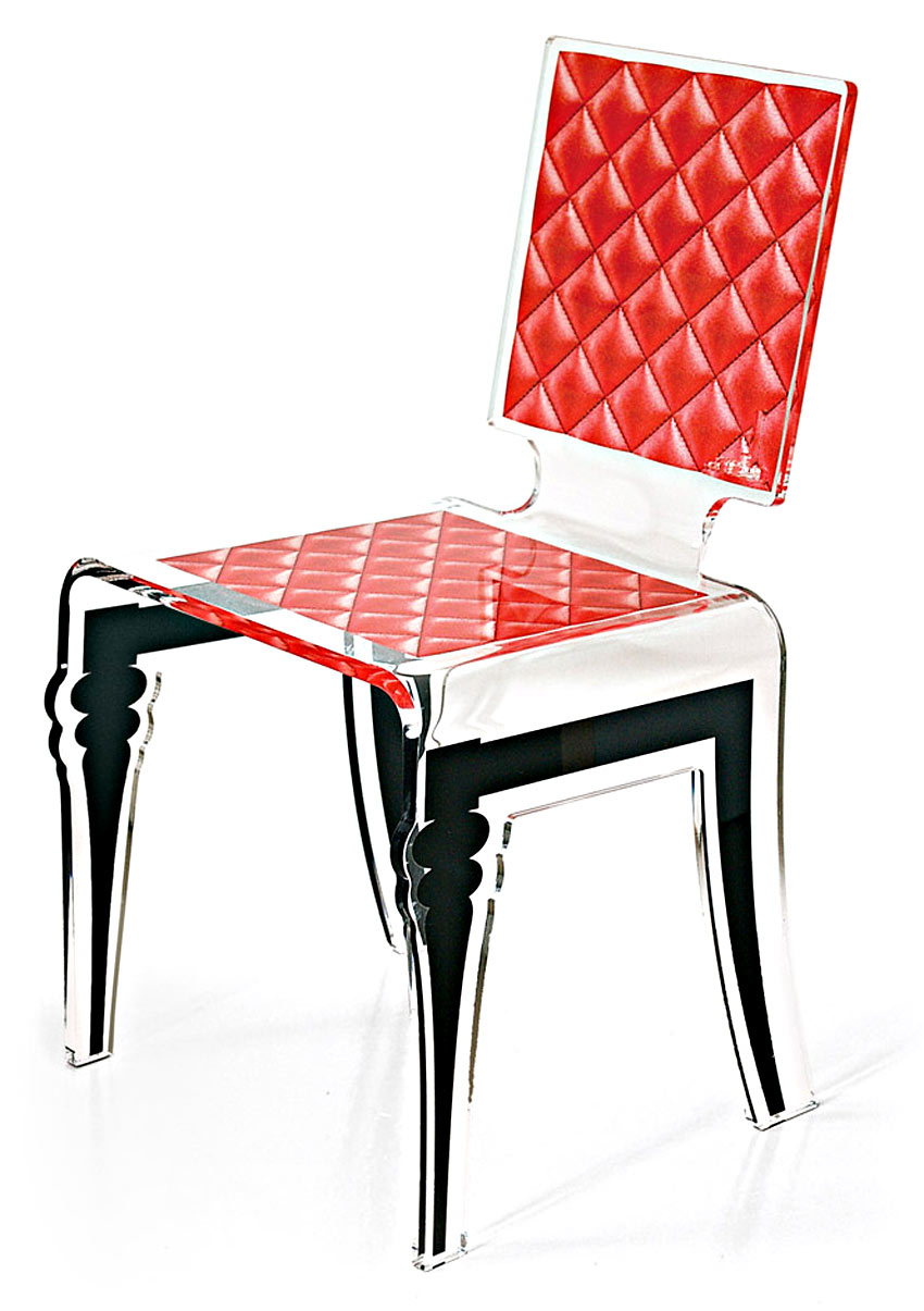 Chaise plexi rouge for Chaise en plexiglass