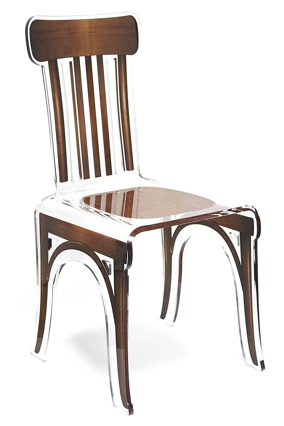 Chaise plexiglas transparent bistrot motif bois marron for Chaise plexi bois