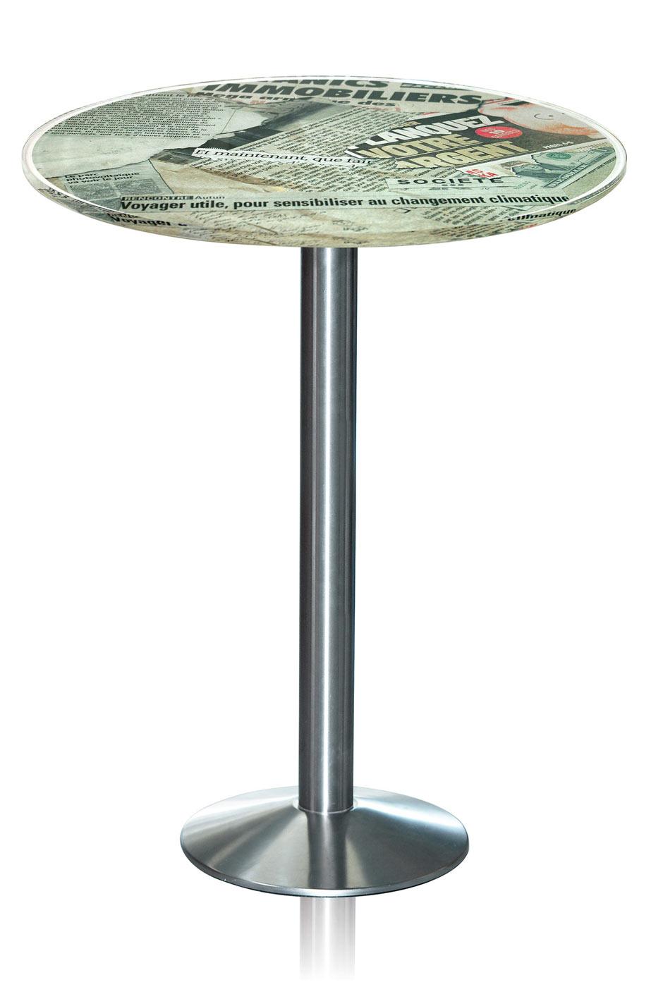 Table Plexiglas Haute Design Bistrot Motif Vieux Journaux