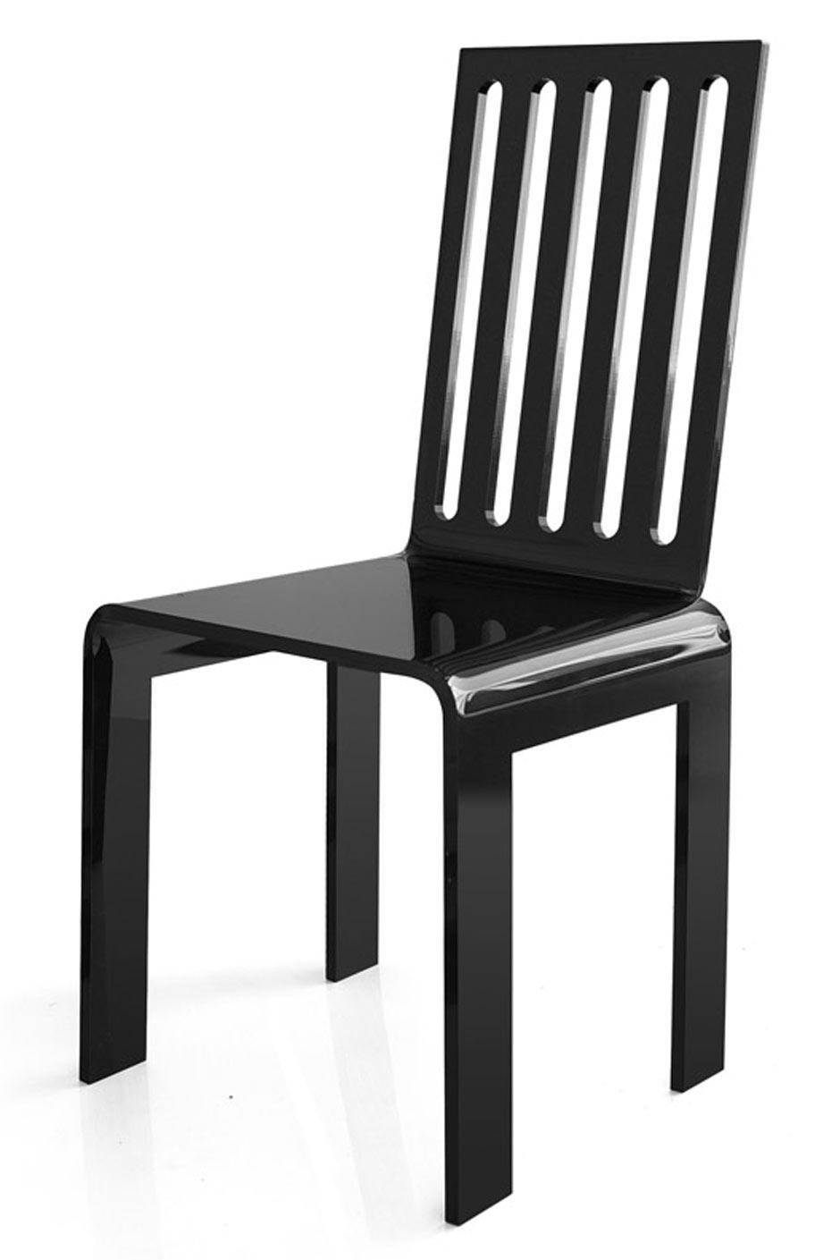 Chaise plexiglas noir barreaux grand soir acrila for Chaise a barreaux
