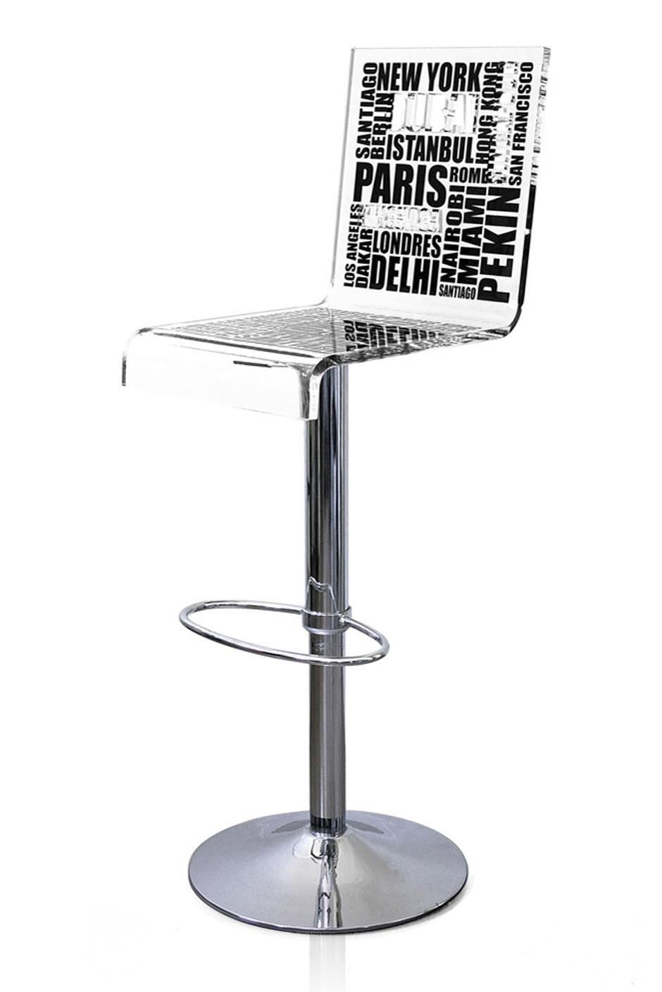 tabouret haut plexiglass avec dossier city motif critures noires acrila sp cialiste du. Black Bedroom Furniture Sets. Home Design Ideas