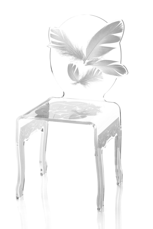 Ch plume blanche acrila sp cialiste du plexiglas r f for Chaise de style baroque