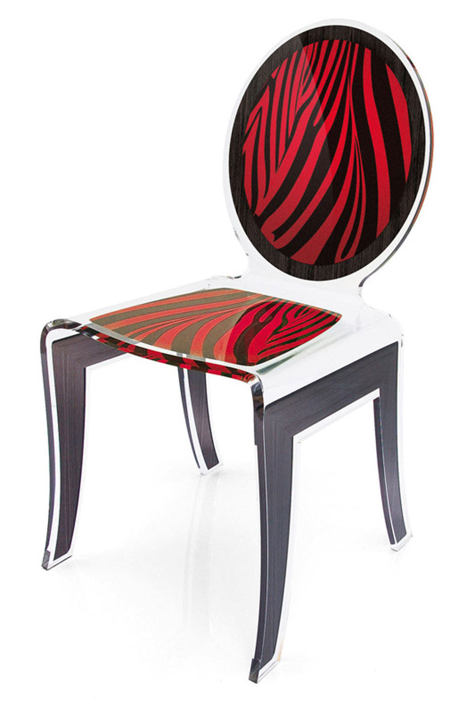 Chaise Plexiglas Medaillon Wild Zebre Rouge Acrila