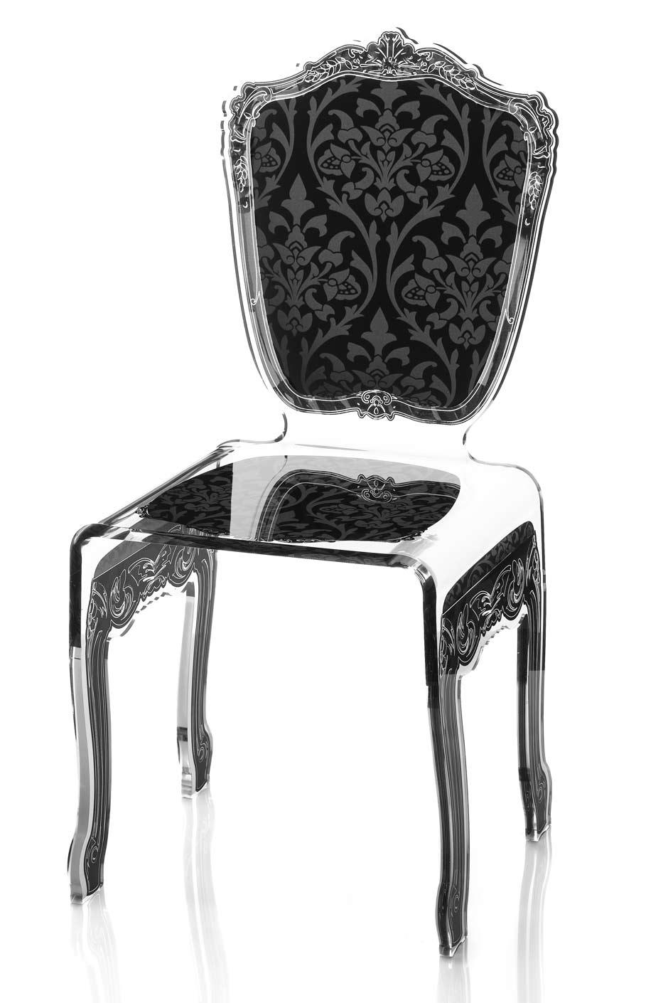 Chaise plexiglas transparent baroque motif noir acrila for Chaise en plexiglass