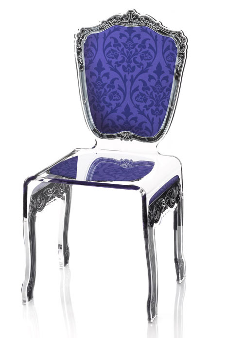 chaise plexiglass baroque transparente motif violet acrila sp cialiste du plexiglas r f. Black Bedroom Furniture Sets. Home Design Ideas
