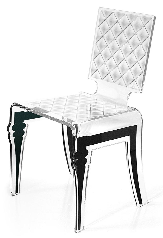 Chaise Plexiglass Design Baroque Diam Motif Blanc Acrila