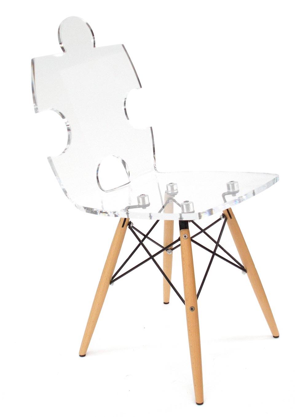 chaise transparente puzzle acrila - Chaise Transparente Pied Bois