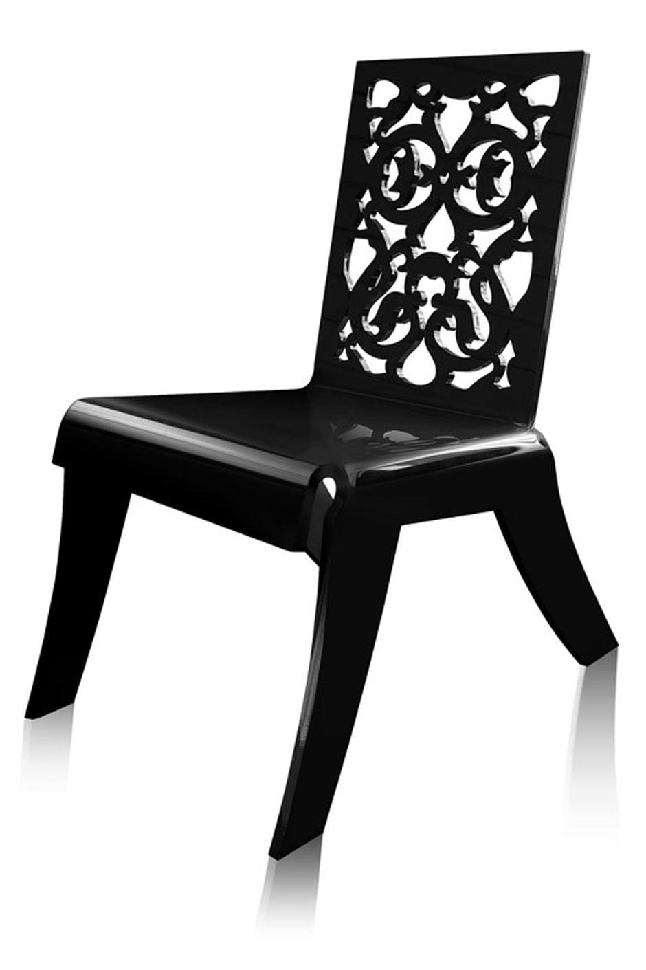 fauteuil grand soir dentelle noire acrila sp cialiste du plexiglas r f 11030413. Black Bedroom Furniture Sets. Home Design Ideas