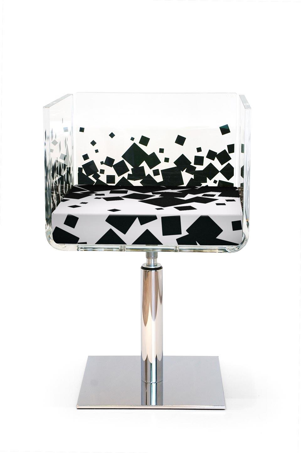 fauteuil cali carr noir pied central acrila sp cialiste. Black Bedroom Furniture Sets. Home Design Ideas