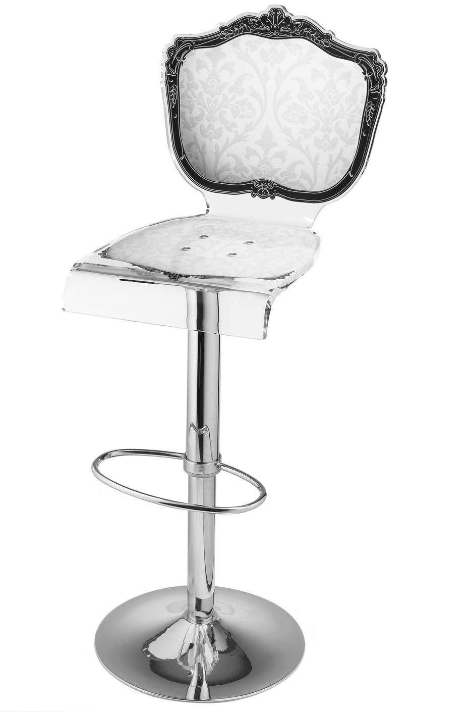tabouret baroque en plexiglas motif blanc acrila sp cialiste du plexiglas r f 11030363. Black Bedroom Furniture Sets. Home Design Ideas