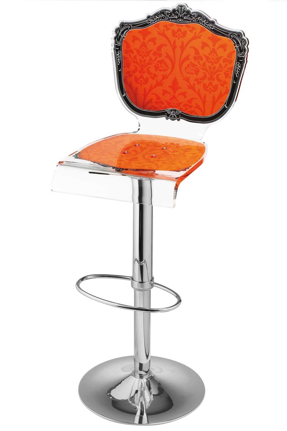 tabouret baroque en plexiglas motif orange acrila sp cialiste du plexiglas r f 11030367. Black Bedroom Furniture Sets. Home Design Ideas