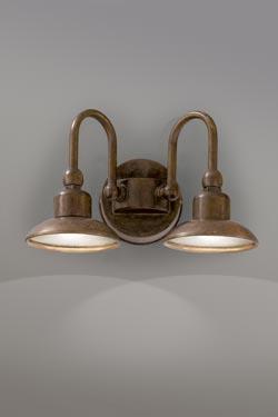 Applique double avec support rond cuivre et laiton patiné éclairage LED puissant. Aldo Bernardi.