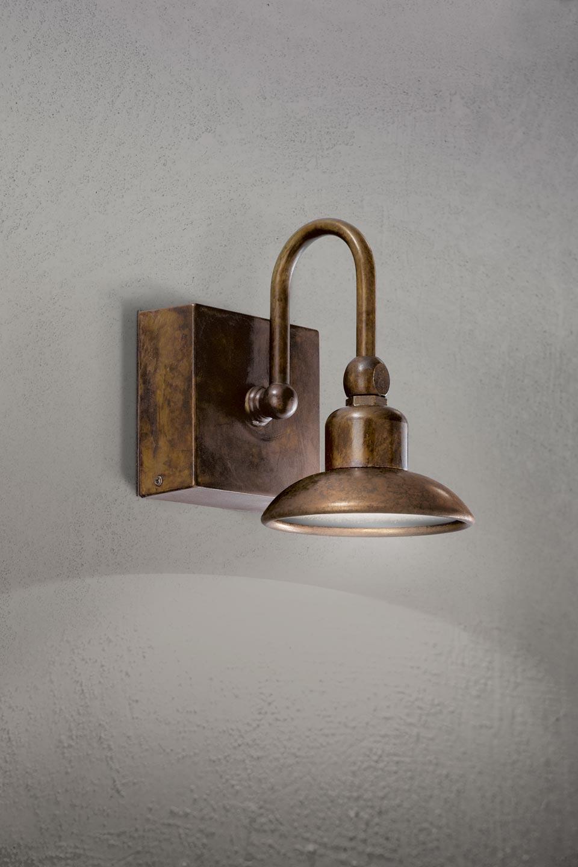 Applique d 39 ext rieur murale cuivre et laiton patin for Luminaire exterieur puissant