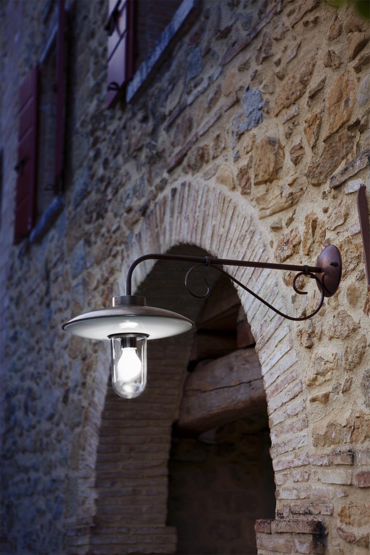 Applique murale ext rieur ronde bras droit en porcelaine for Applique murale exterieur cuivre