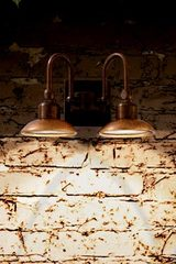 Outdoor wall light double copper and patinated brass square support powerful LED lighting. Aldo Bernardi.