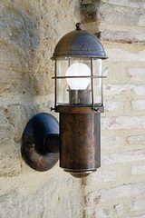 Outdoor wall lamp with lighthouse lantern, grid and cylinder. Aldo Bernardi.