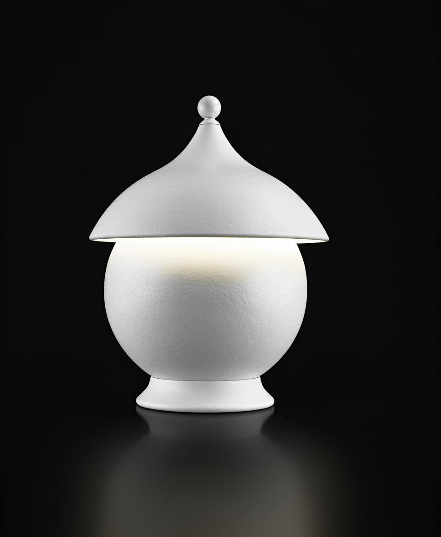 Lampe de table en céramique et sphère blanc mat. Aldo Bernardi.