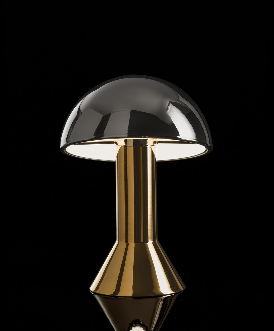 Lampe de table en céramique or et platine. Aldo Bernardi.