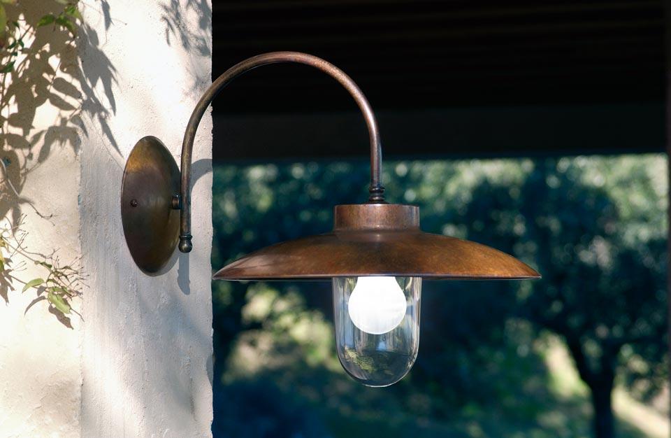 Applique d 39 ext rieur en laiton patin et verre transparent for Luminaire exterieur en applique