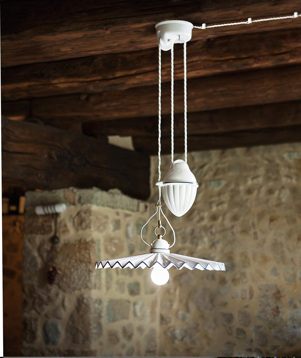 Suspension en porcelaine blanche pliss e et liser bleu for Suspension electrique cuisine