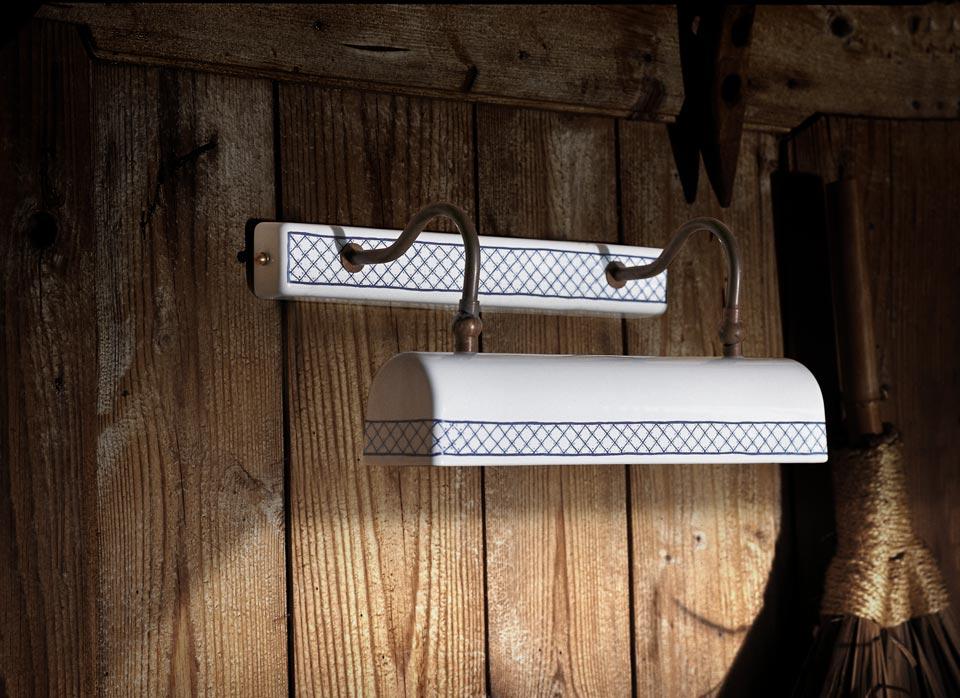 Applique rectangulaire en porcelaine blanche motif proven al en croisillons - Applique porcelaine blanche ...