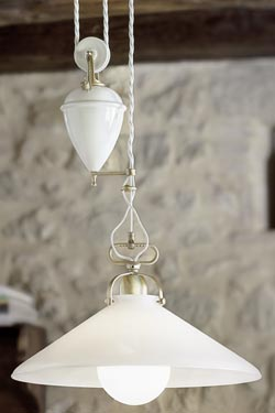 Pendant cone and counterweight in frosted glass and white porcelain. Aldo Bernardi.