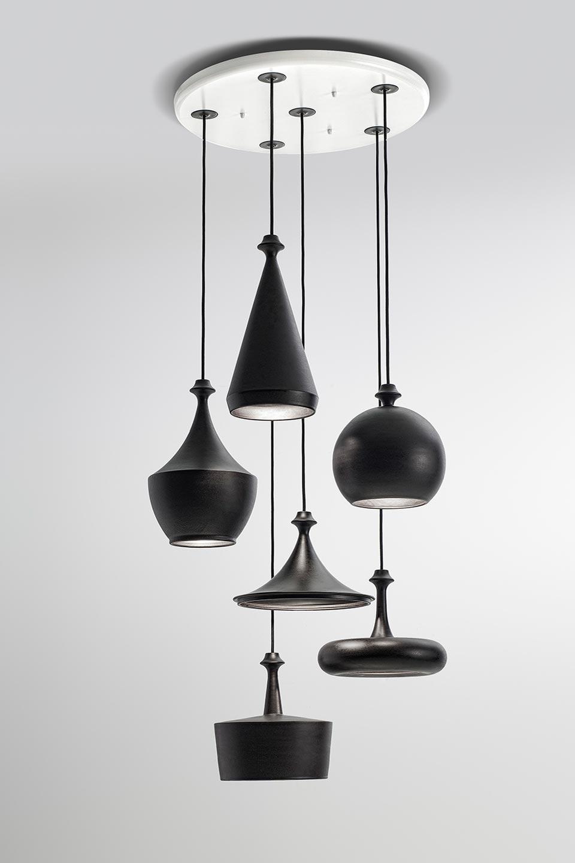 Multilustri Contemporary Pendant Light Matt Black Aldo Bernardi Luxury Luminaries In Brass And Ceramic Ref 20050111