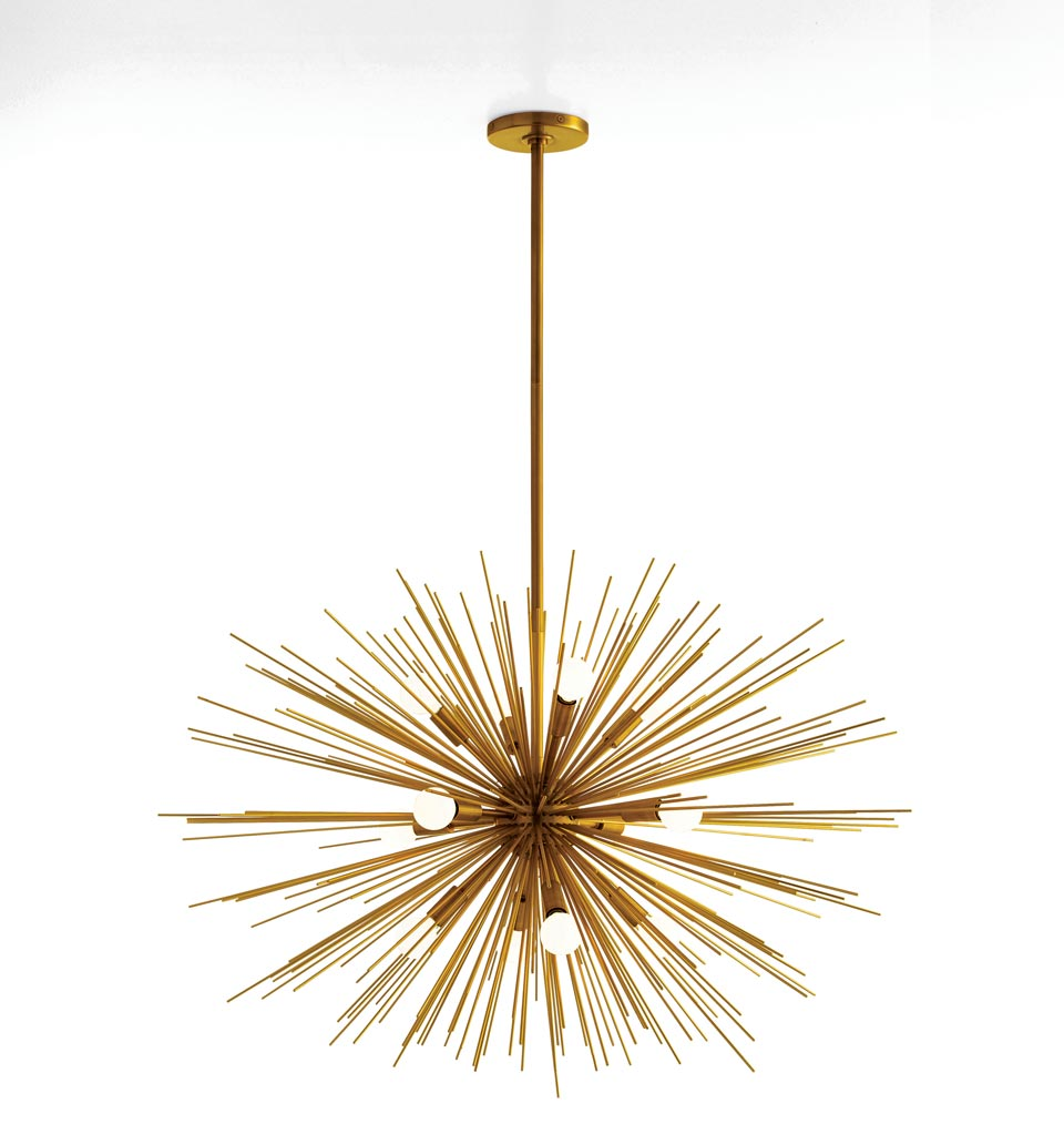 Grand lustre en laiton antique Zanadoo . Arteriors.