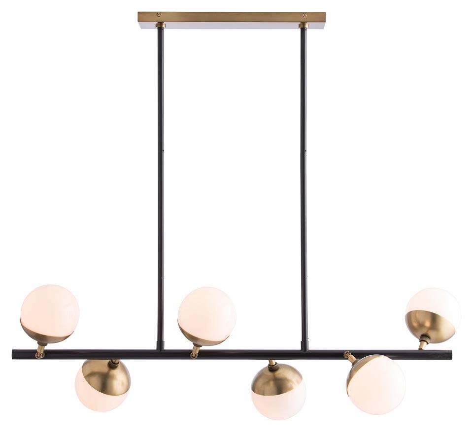 Lustre 6 lumières en bronze noir et laiton antique Wahlburg. Arteriors.