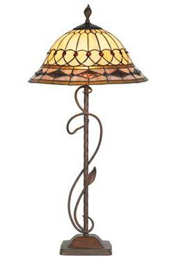Belle époque lampe style Tiffany avec cabochons grand modèle. Artistar.