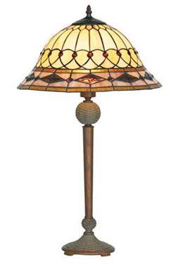 Belle époque lampe style Tiffany avec cabochons moyen modèle pied droit. Artistar.