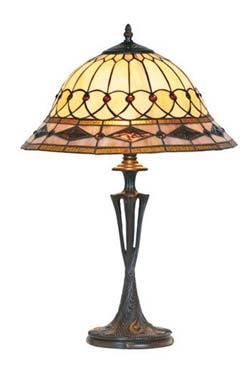 Belle époque lampe style Tiffany avec cabochons moyen modèle pied travaillé. Artistar.