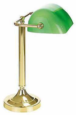 Biblio laiton verte 1 lampe de bureau. Artistar.