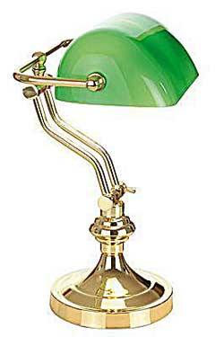 Biblio laiton verte 2 lampe de bureau. Artistar.