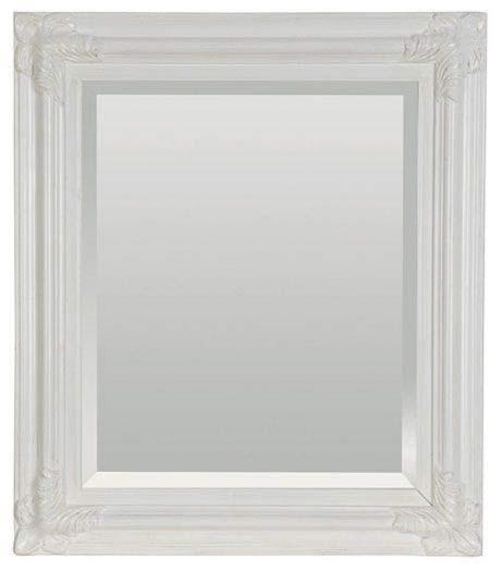 Miroir en verre avec cadre en bois laqué blanc à volutes