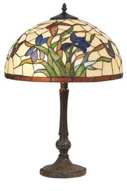 Iris bleu lampe style Tiffany à fleurs bleues moyen modèle. Artistar.