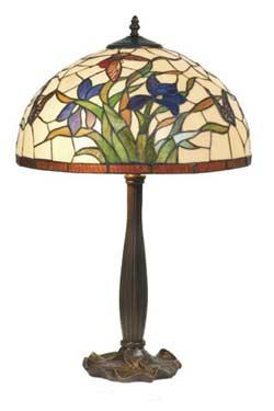 Iris bleu lampe style Tiffany à fleurs bleues tout petit modèle. Artistar.