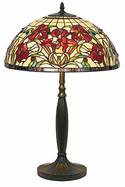Iris rouge Grande lampe style Tiffany. Artistar.