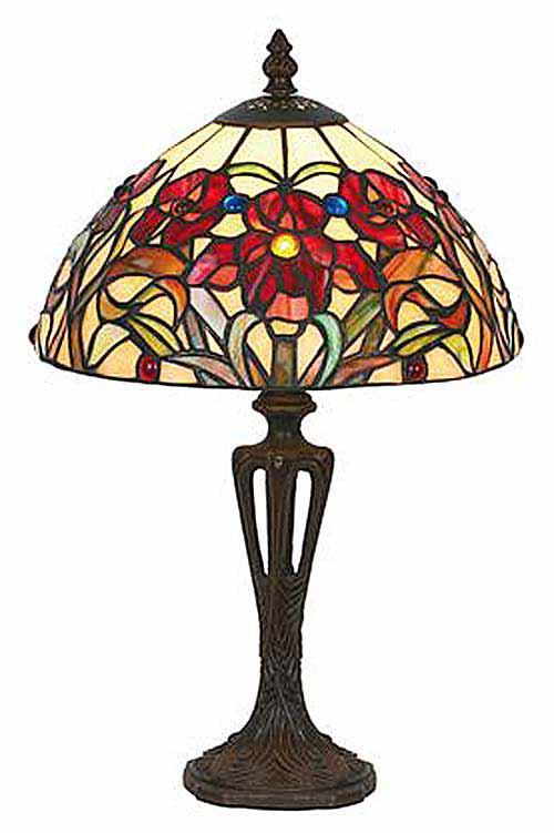 Iris rouge Petite lampe style Tiffany. Artistar.