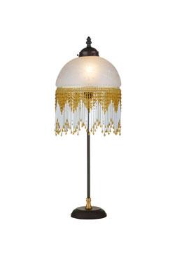 Lampe de table Méduse blanche et perles dorées et blanches. Artistar.